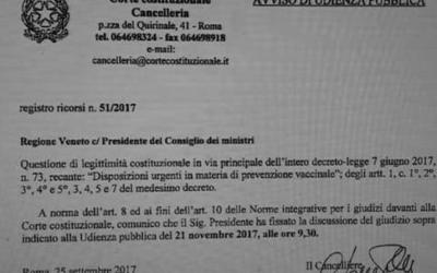 Fissata l'udienza in Corte Costituzionale contro il DL Lorenzin (poi legge)